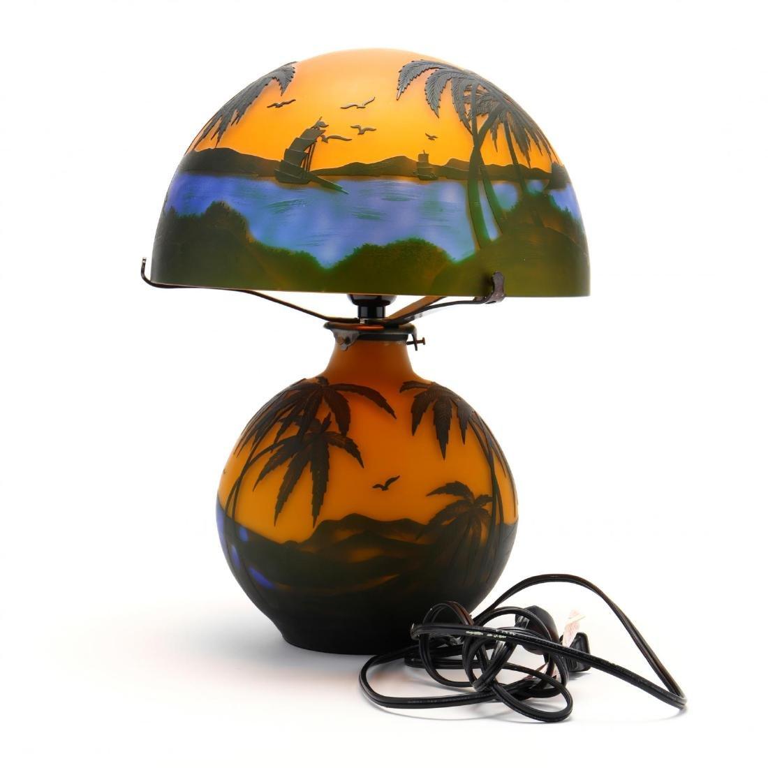 after Gallé, Cameo Glass Table Lamp - 3