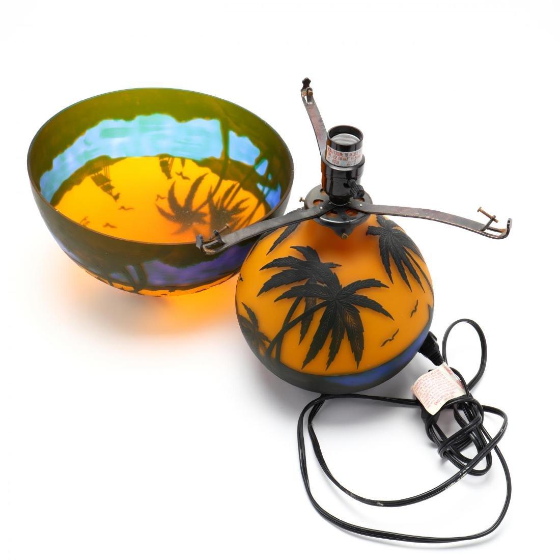 after Gallé, Cameo Glass Table Lamp - 5