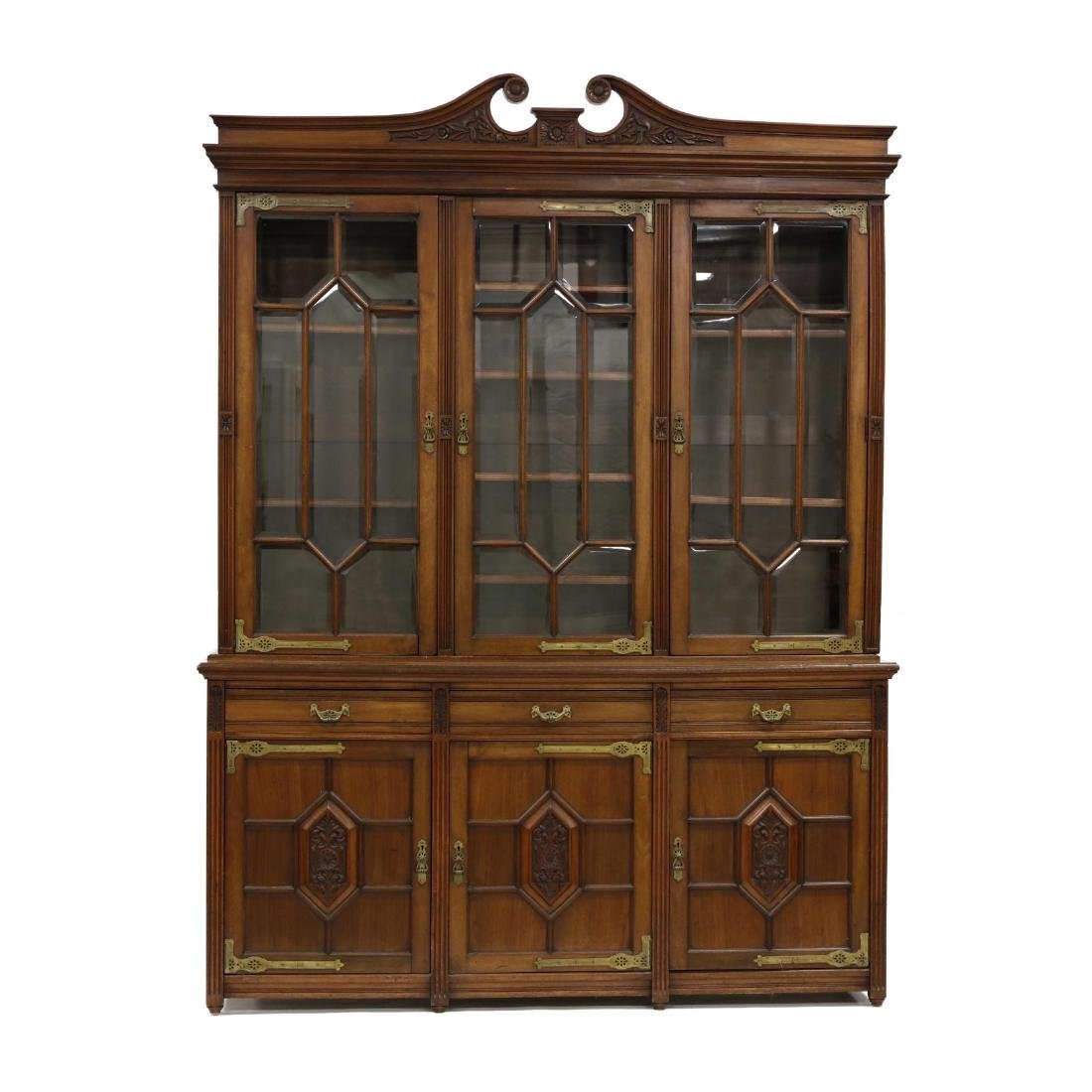 Aesthetic Period Carved Mahogany Bibliothèque