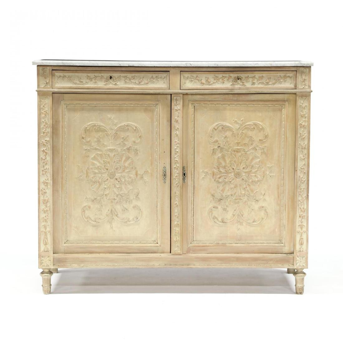 Italian Carved Marble Top Cabinet