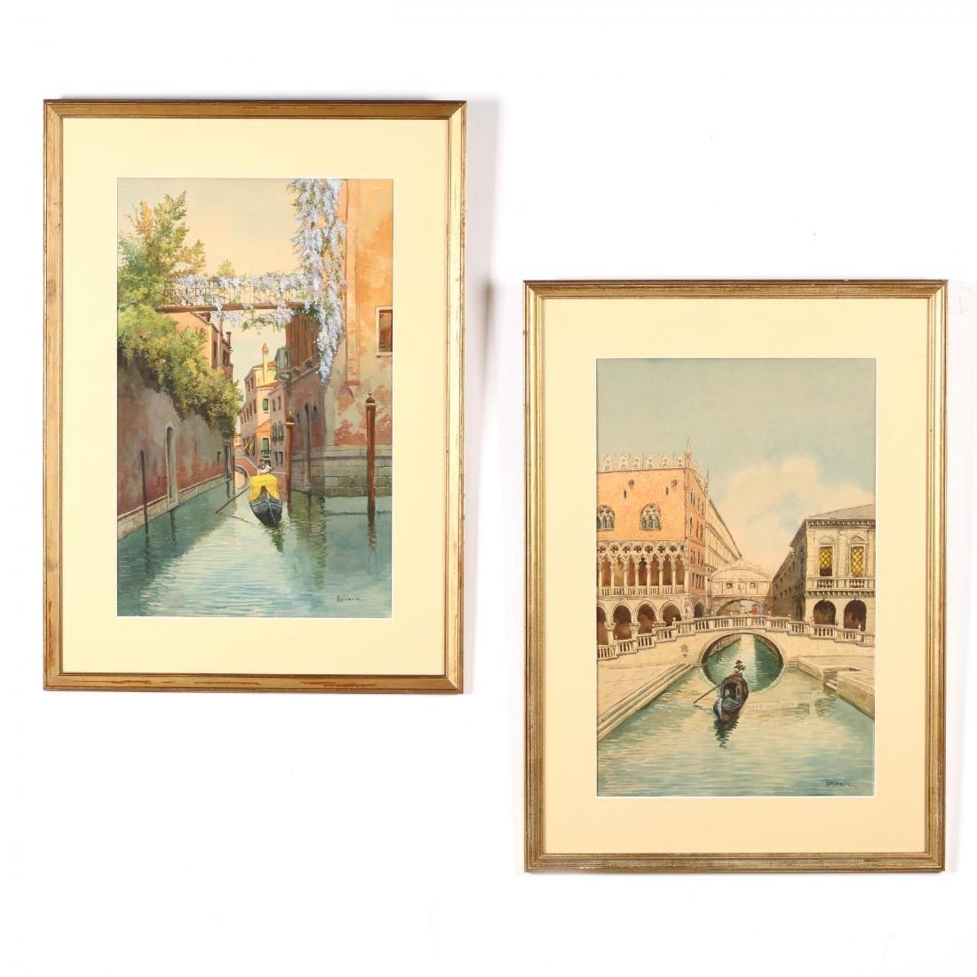 A Pair of Vintage Venetian Watercolors