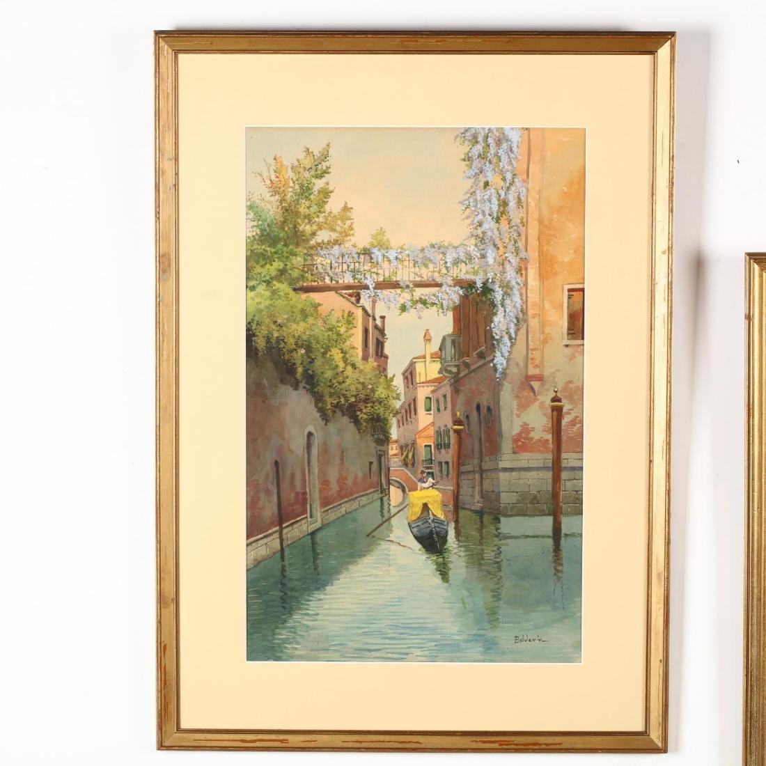 A Pair of Vintage Venetian Watercolors - 2