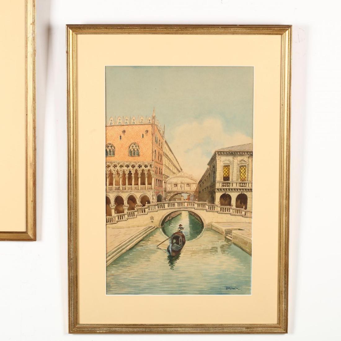 A Pair of Vintage Venetian Watercolors - 3