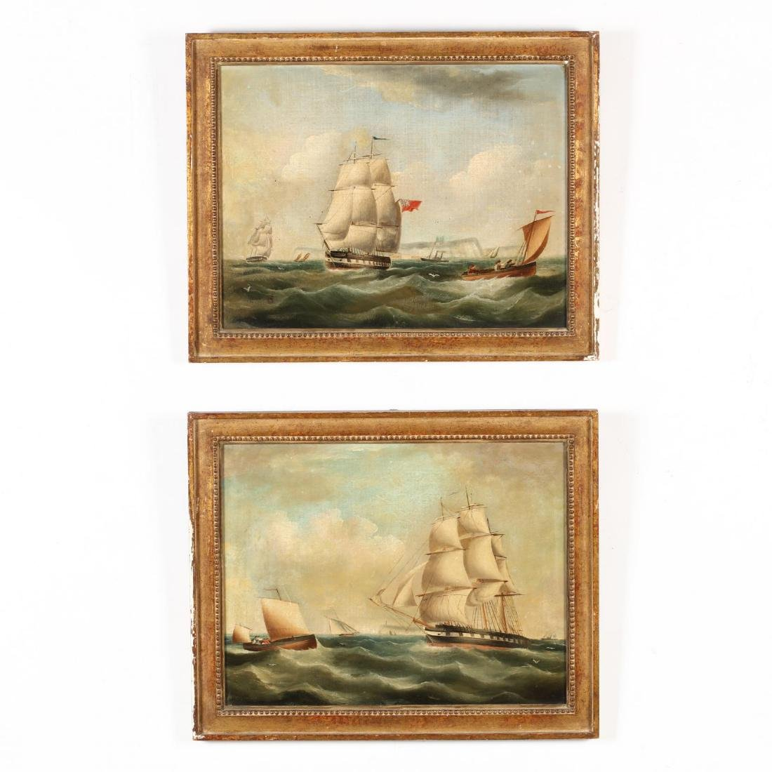 A Pair of Antique English Maritime Paintings