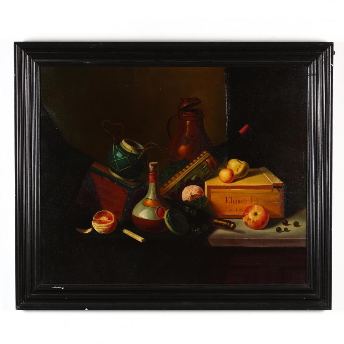 A Contemporary Still Life Painting with Fruit and Wine