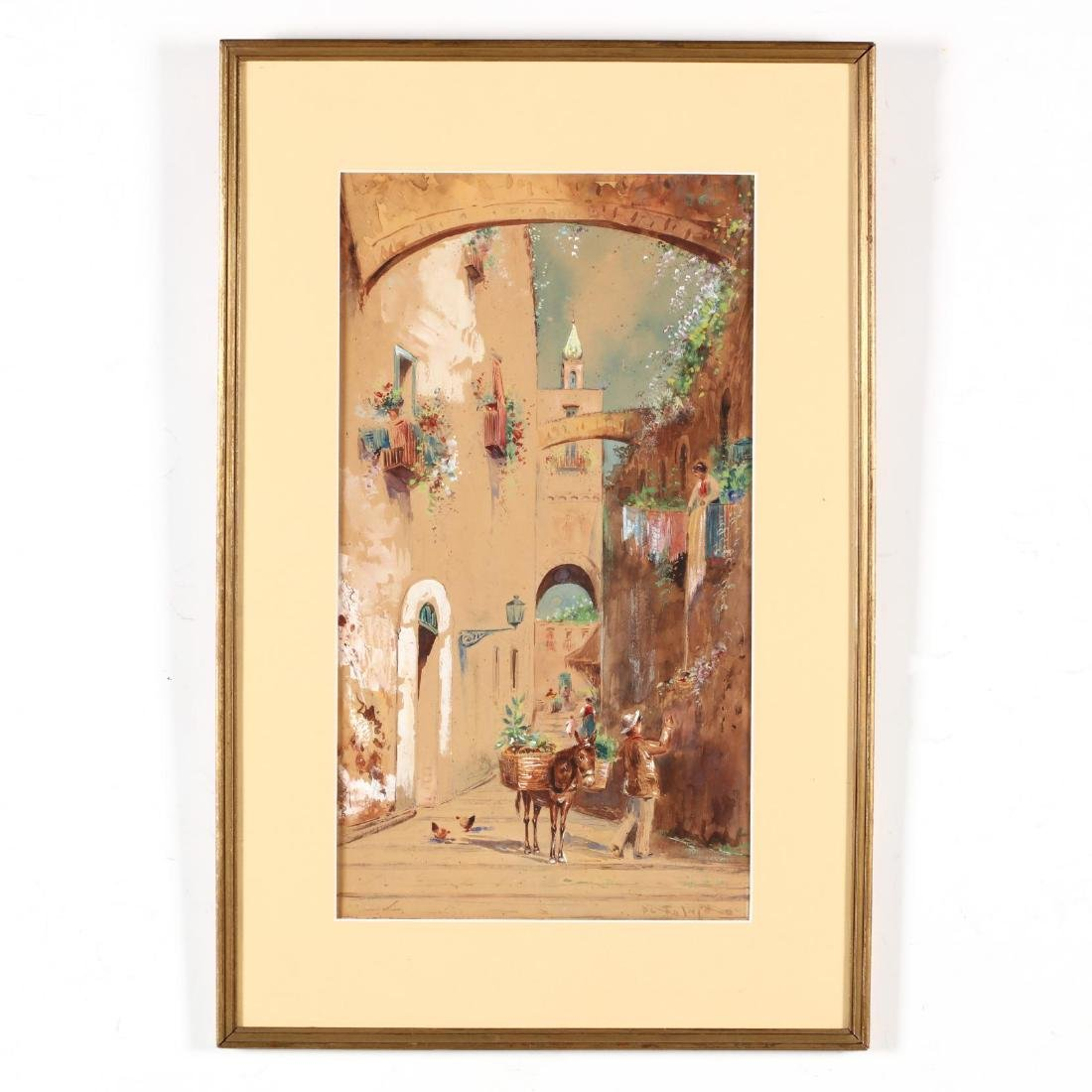 An Antique Italian Watercolor of an  Old Step Street in