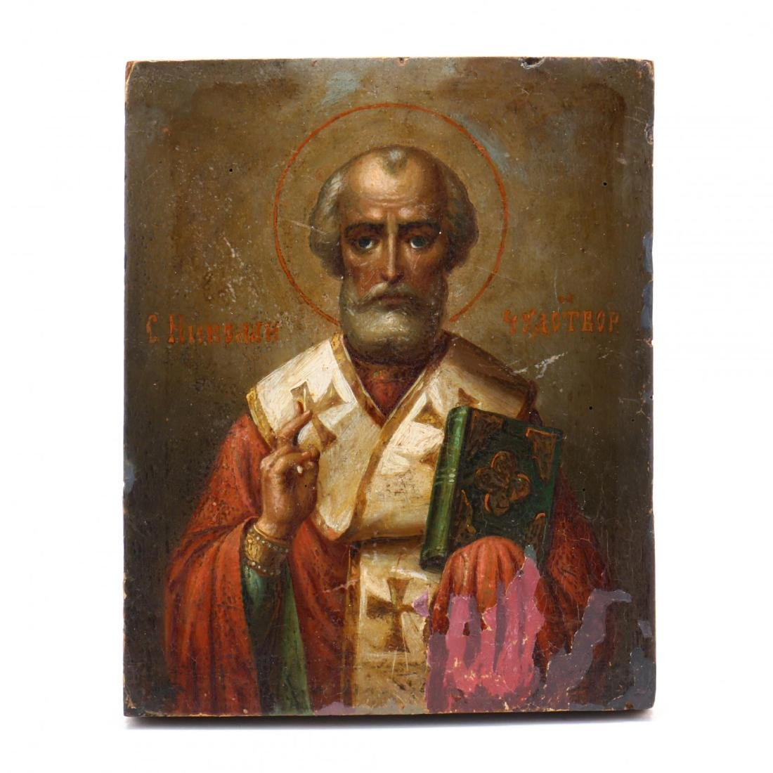 An Antique Russian Icon of Saint Nicholas