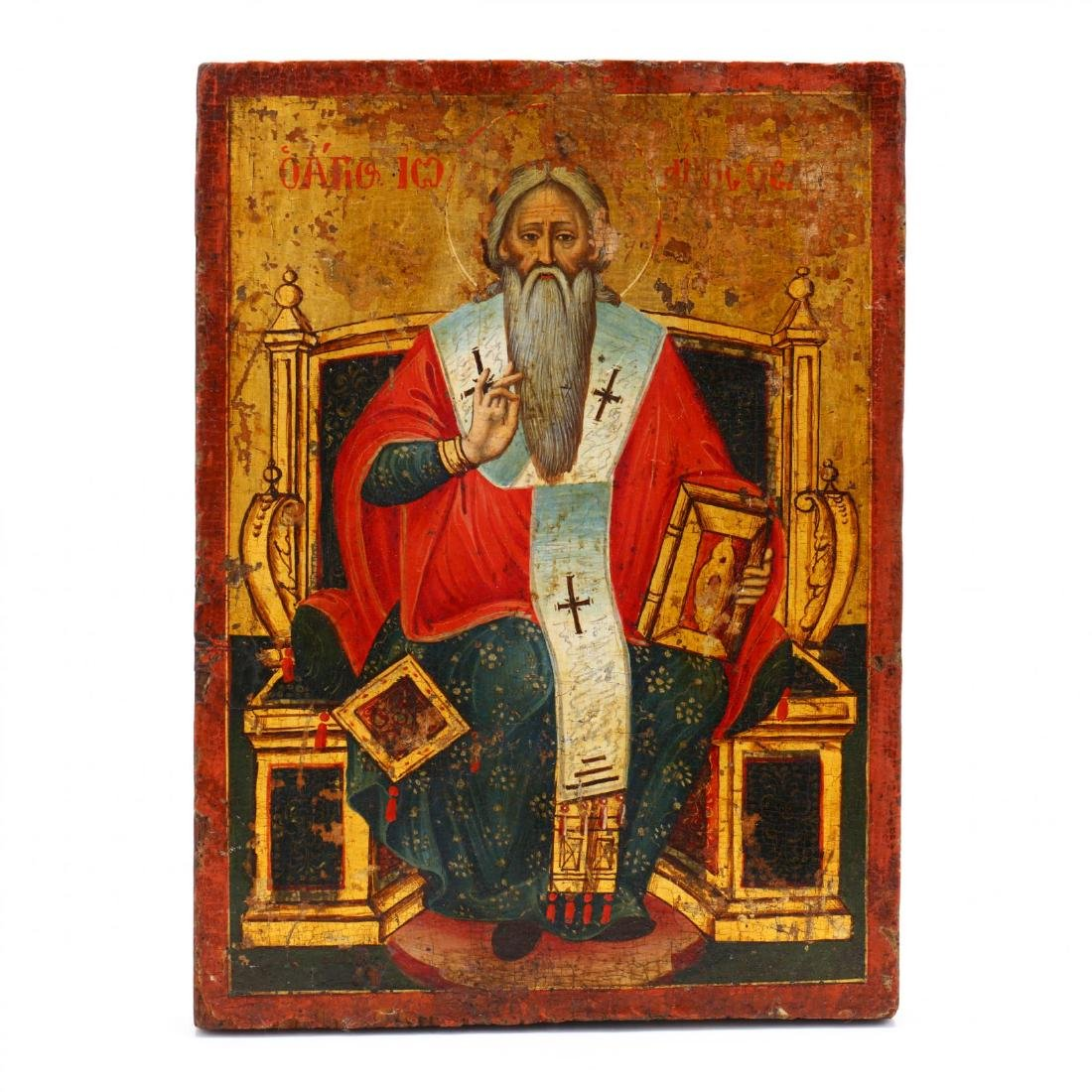 An Antique Icon, Possibly Saint Clement of Ohrid