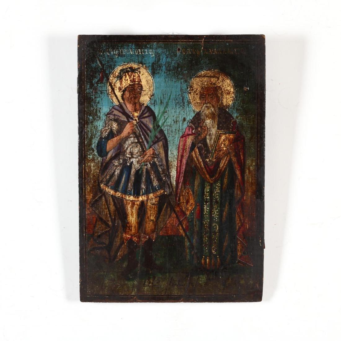 An Antique Greek Icon of Two Saints
