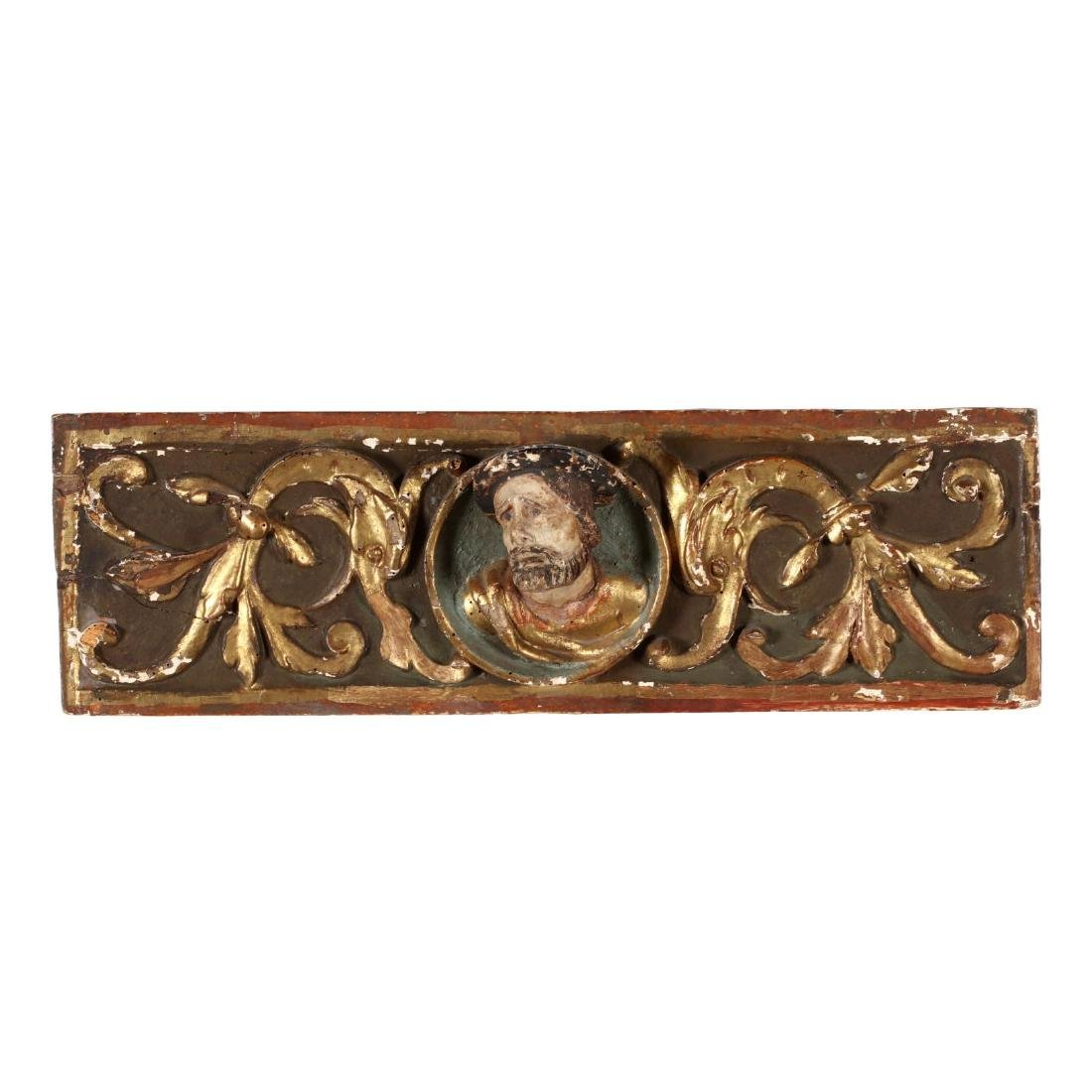 Antique Carved and Polychromed Religious Frieze