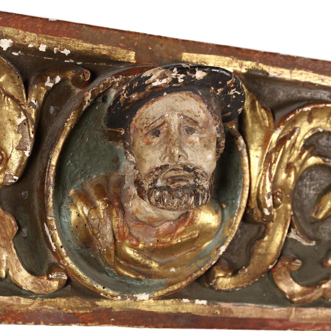 Antique Carved and Polychromed Religious Frieze - 2
