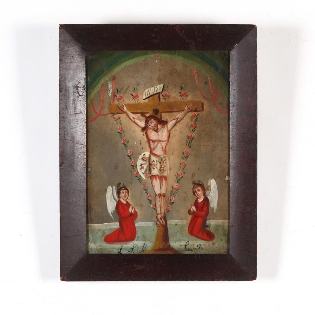An Antique Mexican Retablo of the Crucifixion