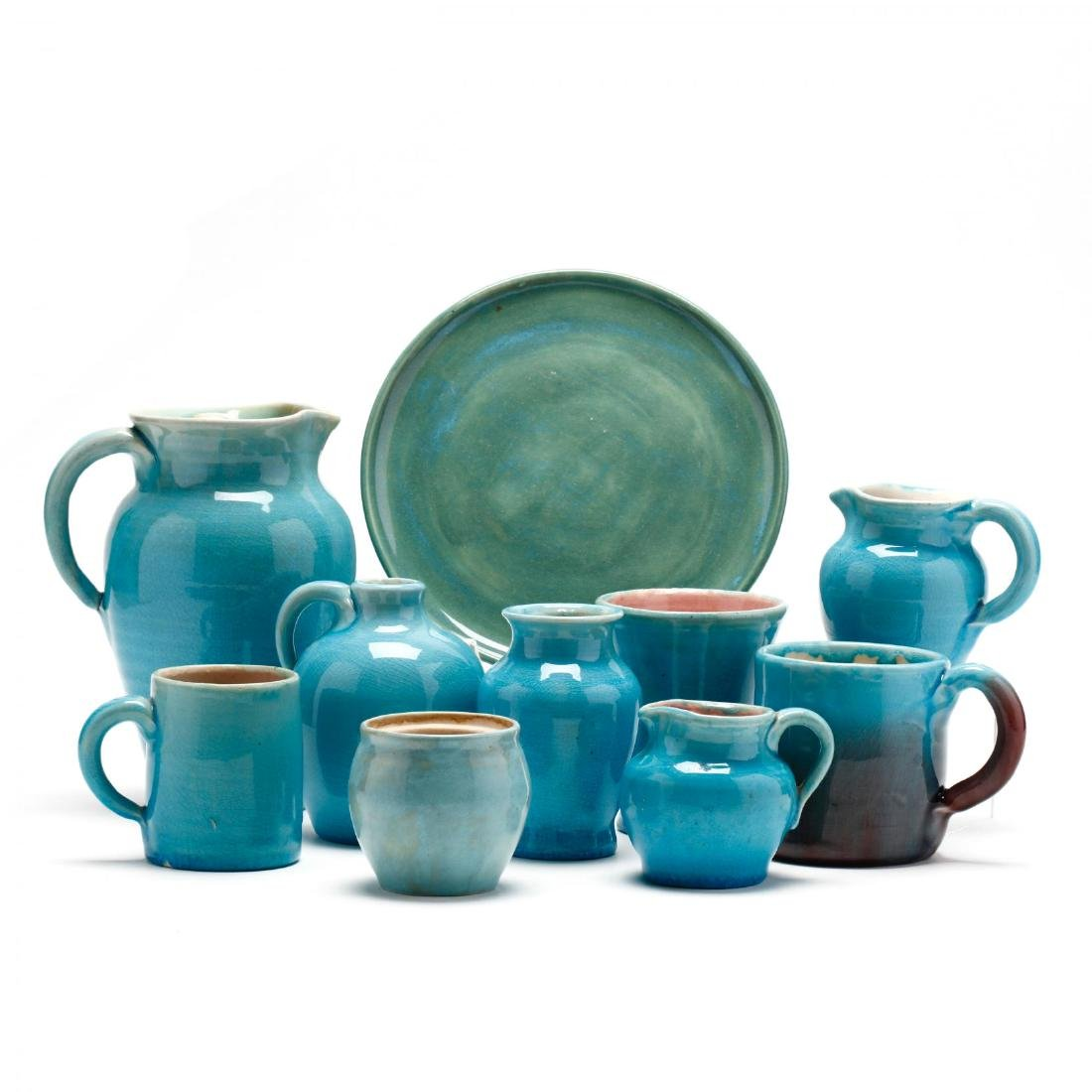 Ten Pieces of Turquoise Glazed Pisgah Forest Pottery