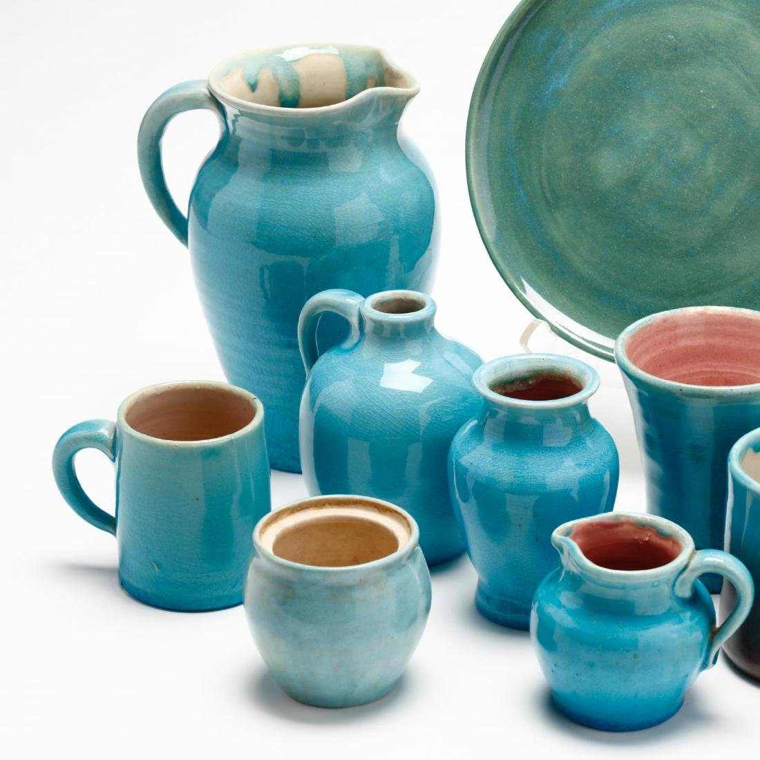 Ten Pieces of Turquoise Glazed Pisgah Forest Pottery - 3