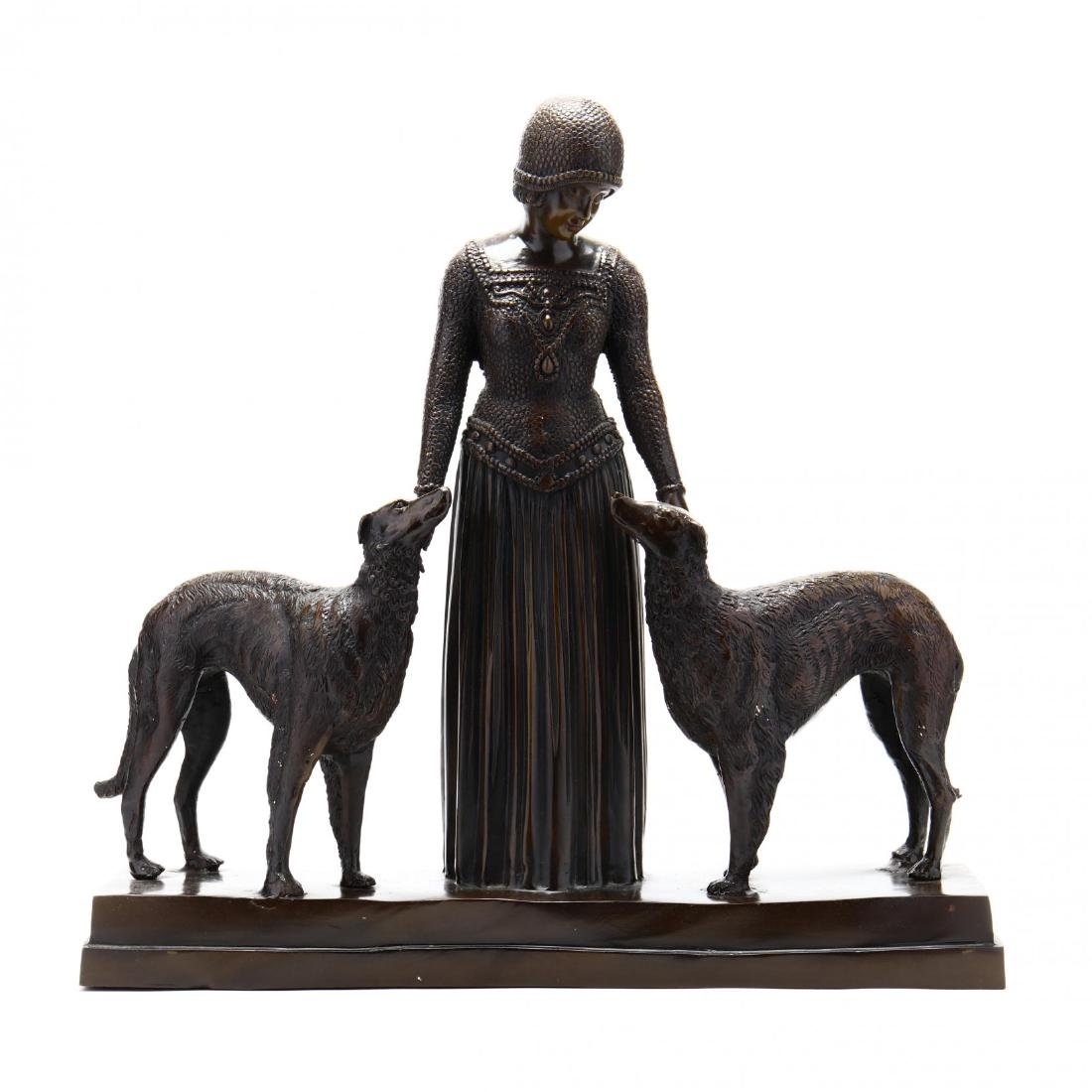 Art Deco Style Bronze Woman with Hounds