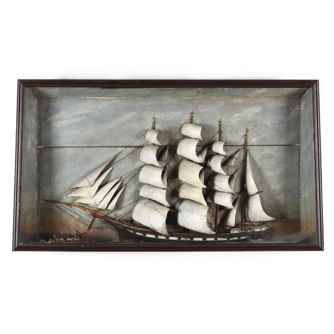 Half Hull Full-Rigged Ship Diorama