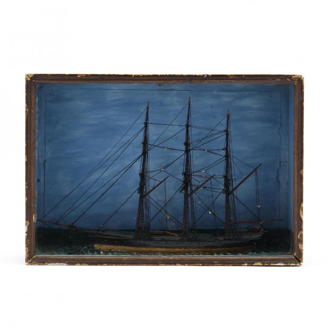 Nautical Diorama of a Full-Rigged Ship