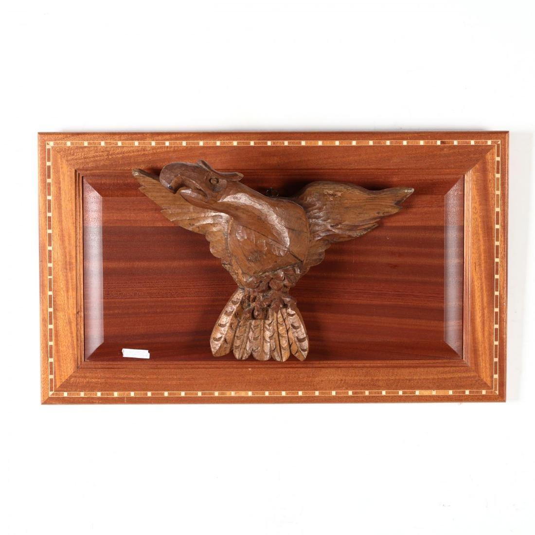 Folk Art Carved Wood Eagle on Plaque