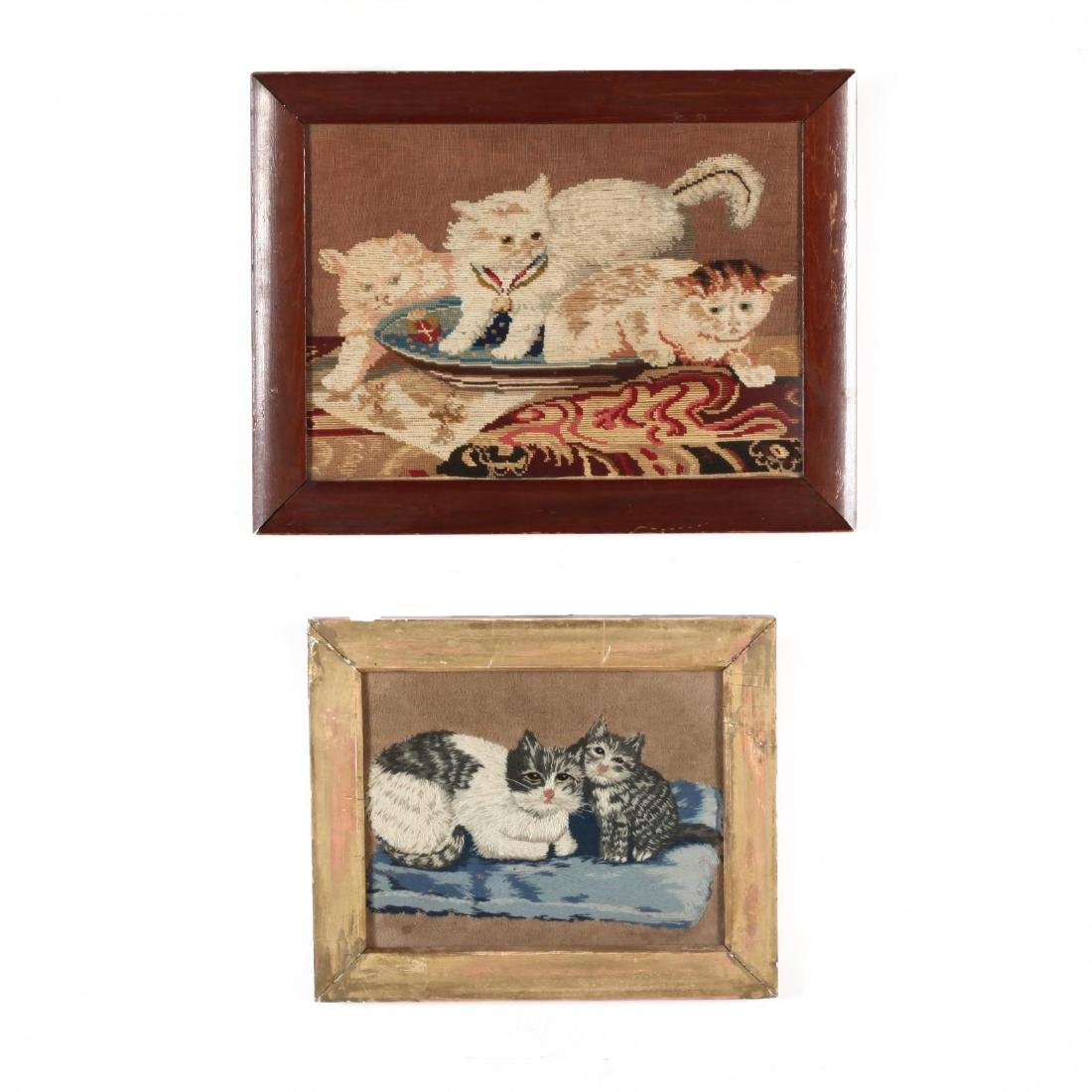 Two Antique Needleworks of Cats and Kittens