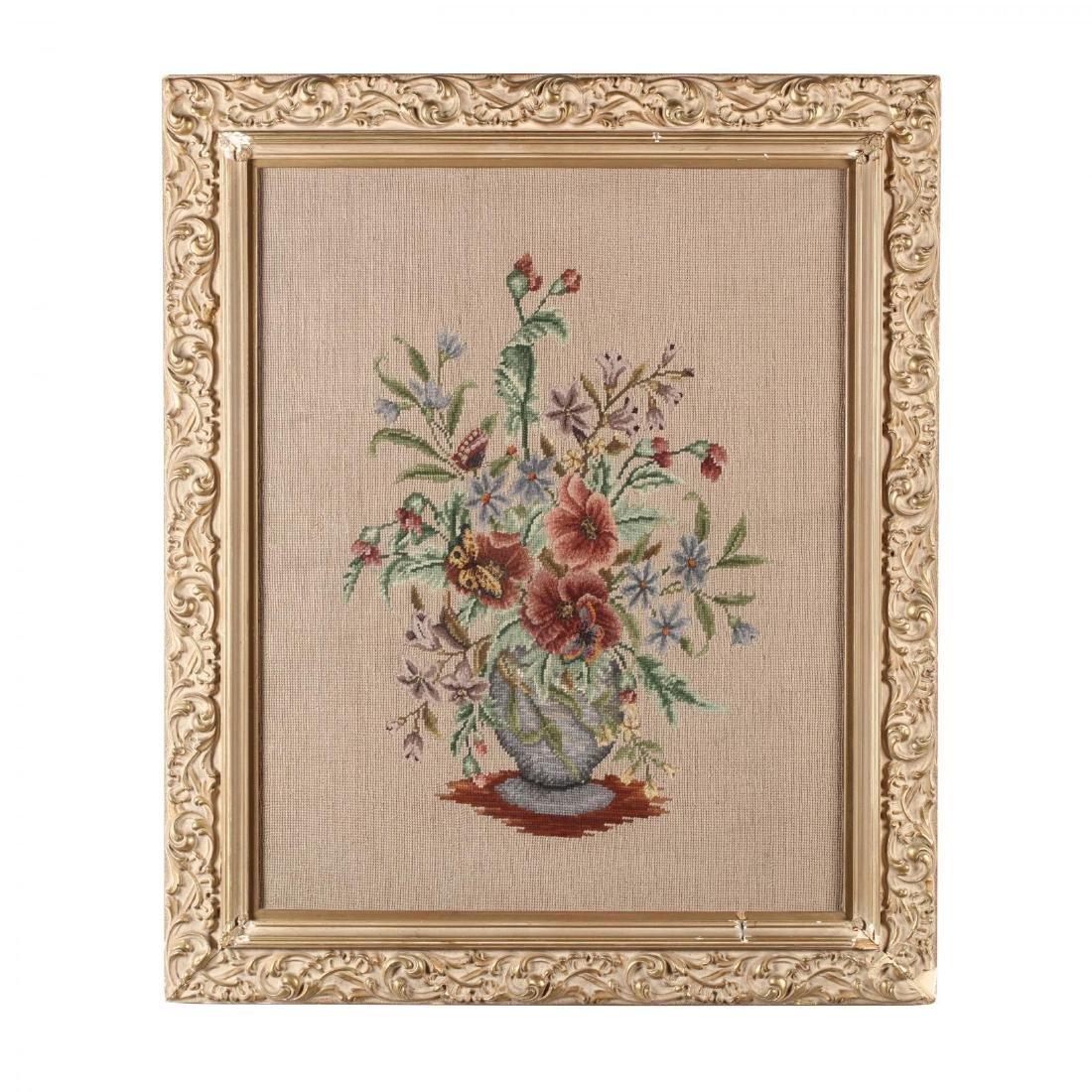 A Vintage Needlework Still Life of Flowers