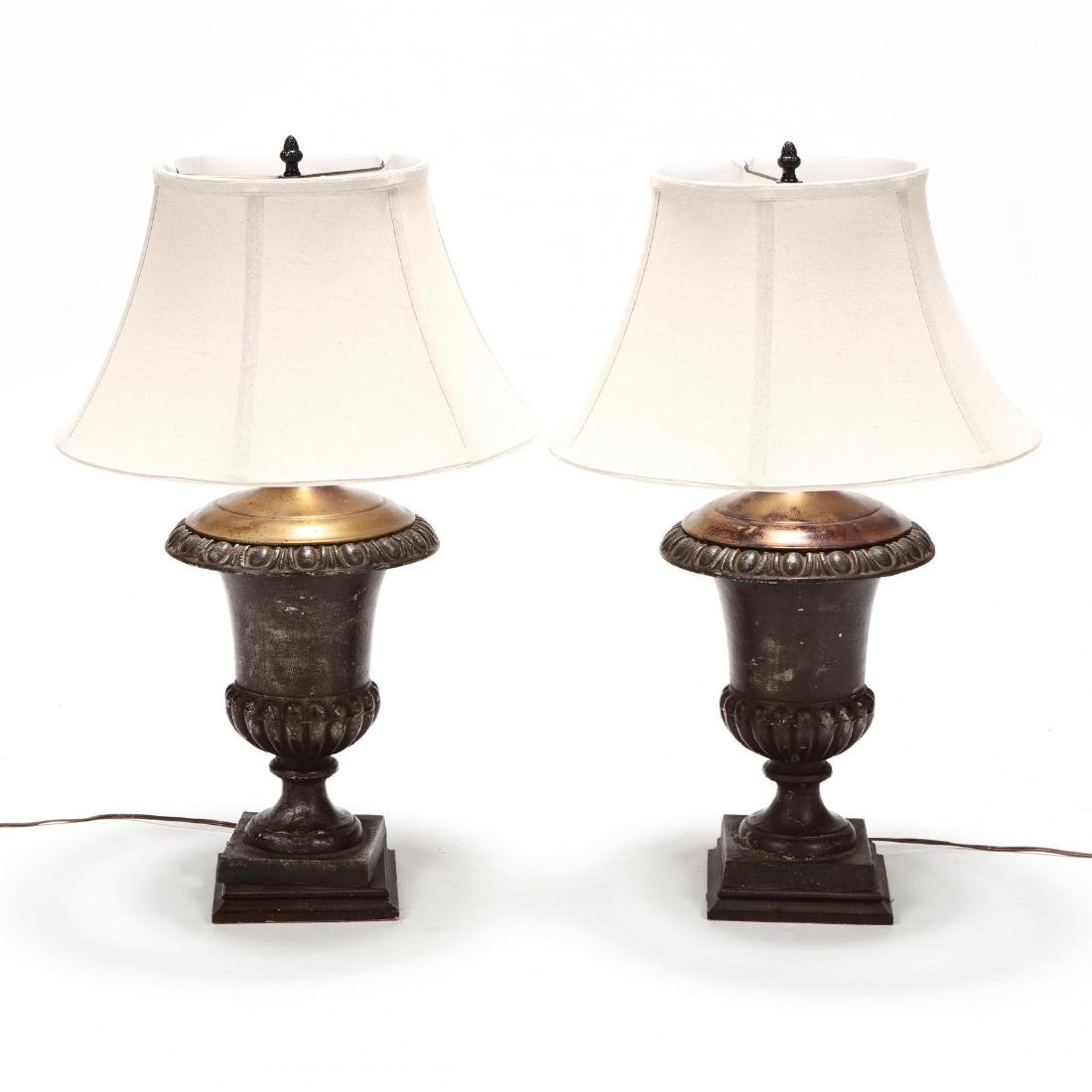 Pair of Iron Urn Form Table Lamps