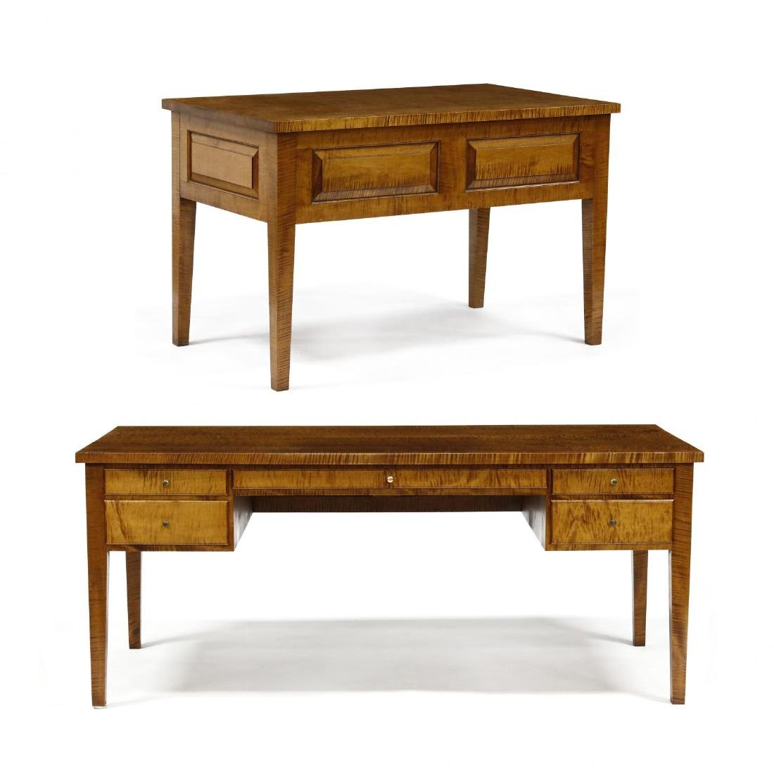 Barton Sharpe, Custom Tiger Maple Executive Desk and