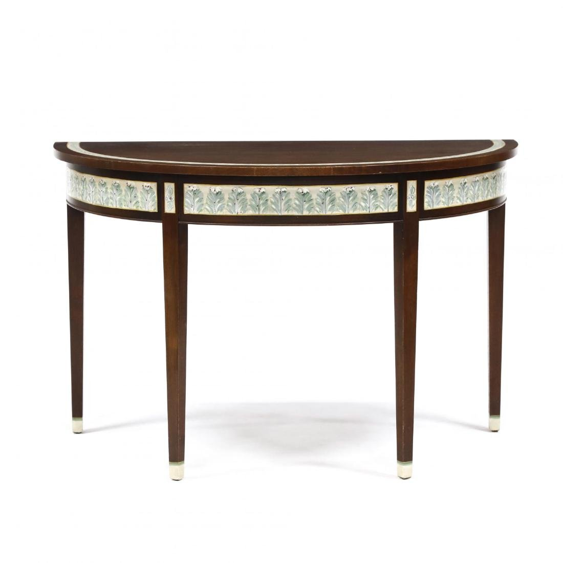 Contemporary Paint Decorated Demilune Table