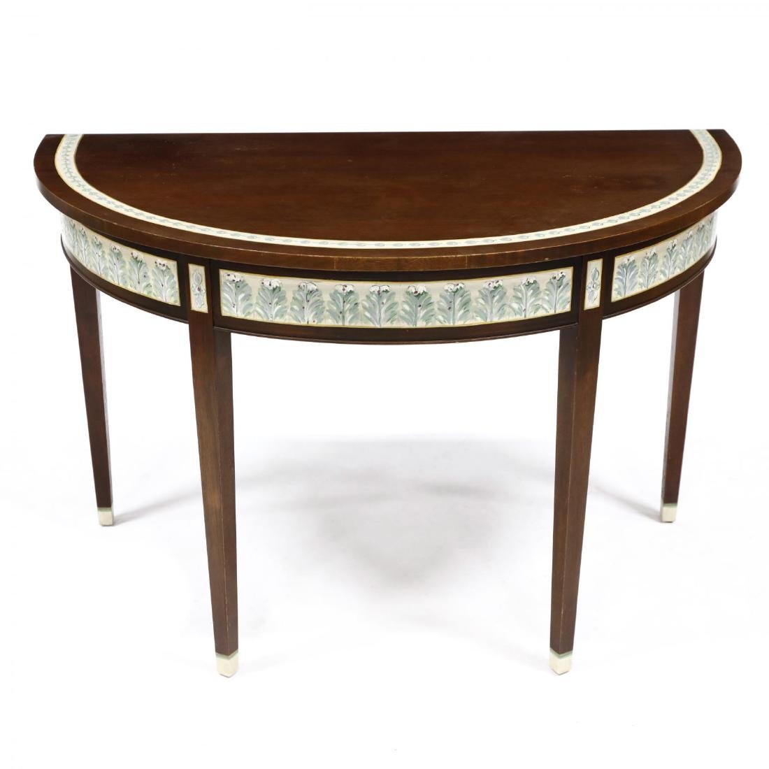 Contemporary Paint Decorated Demilune Table - 2