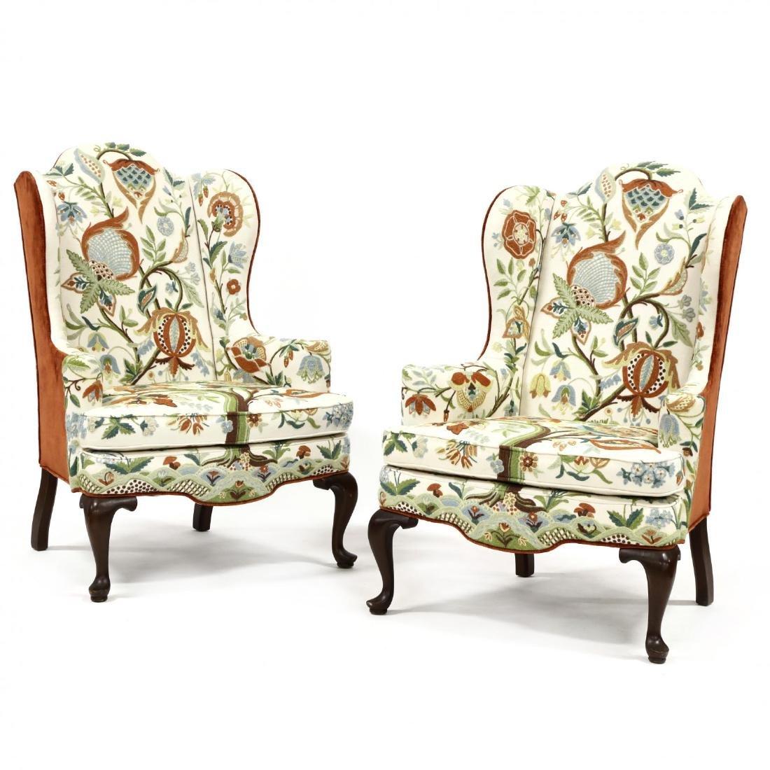 Woodmark Originals, Pair of Crewelwork Upholstered Wing