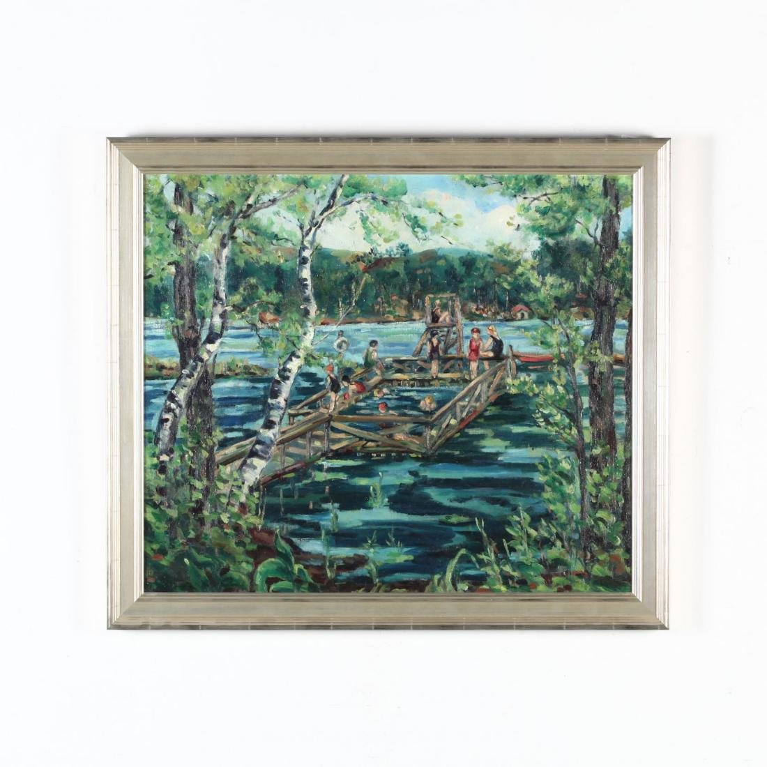 An American Scene Painting of Swimmers at Lake Mohegan