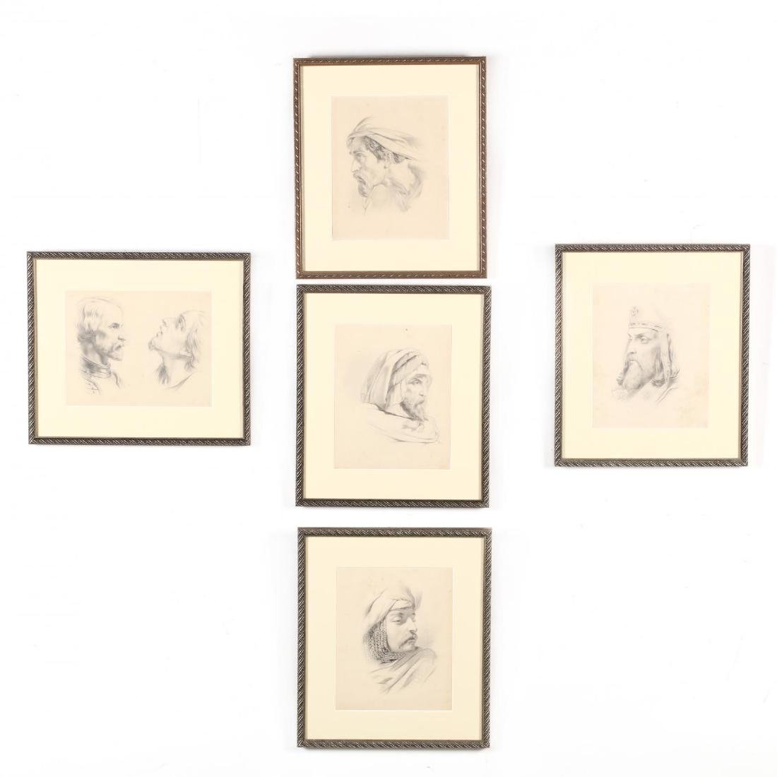 Peter Calvi, Jr. (NY, 1860-1926), Five Sketches of Men