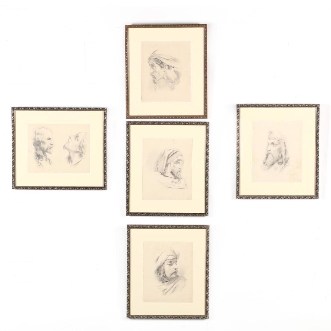 Peter Calvi, Jr. (NY, 1860-1926), Five Sketches of Men