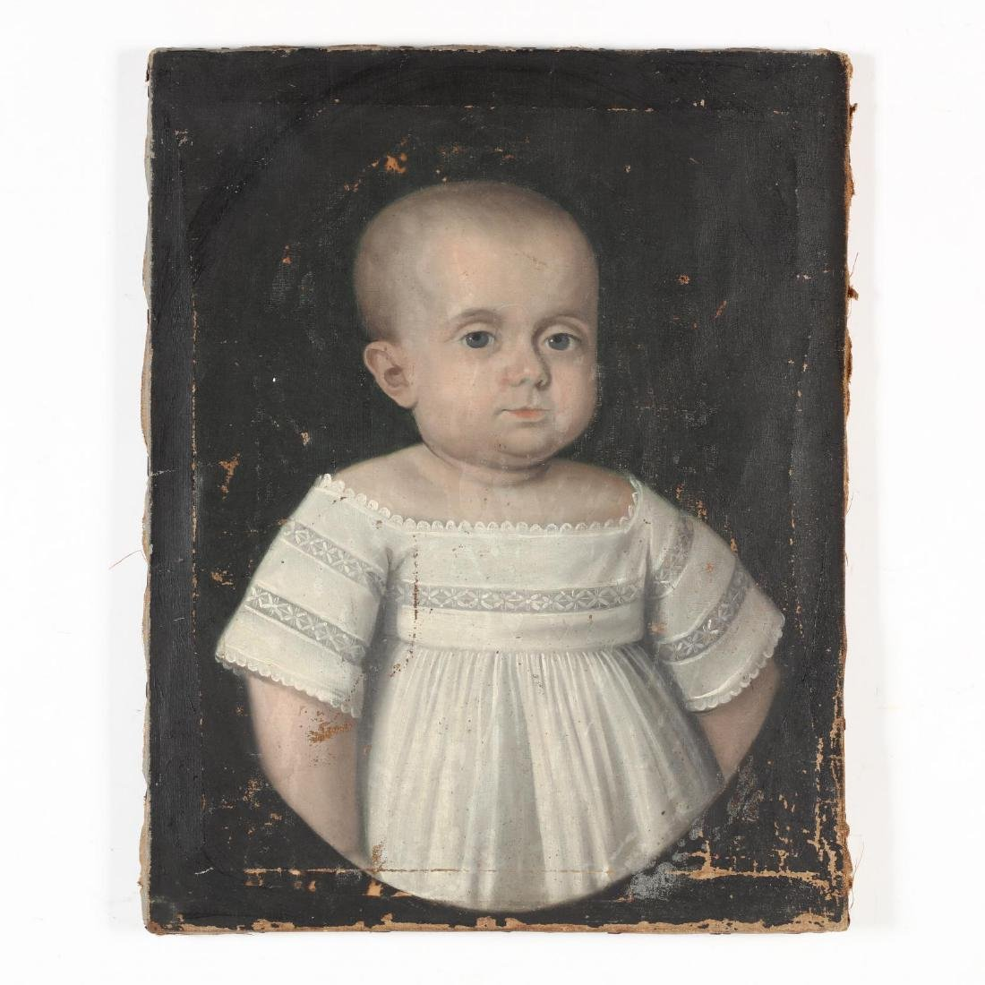 An Antique American School Painting of a Baby