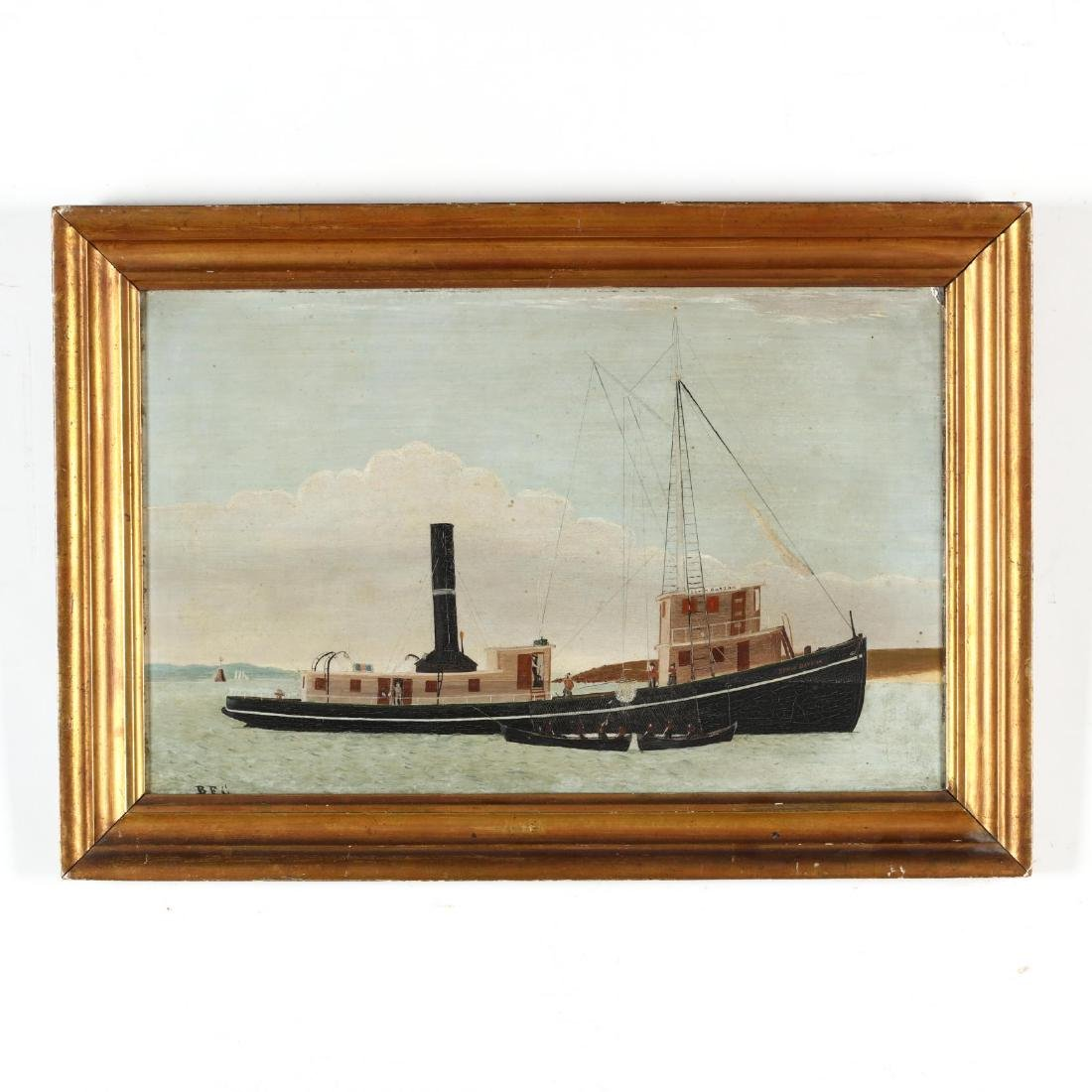 "An American Folk Art Painting of a Steam Drifter ""Edwin"