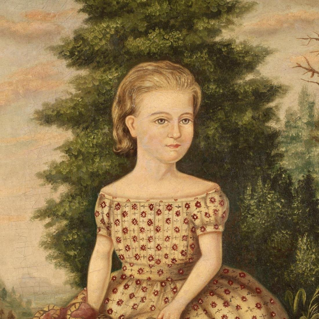 An Antique American School Portrait of a Young Girl - 2