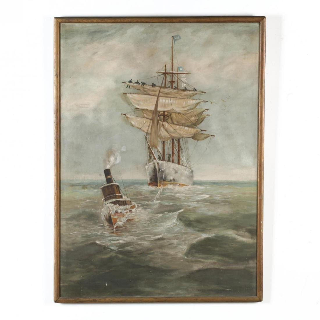 An Antique Maritime Painting with Ship and Tugboat