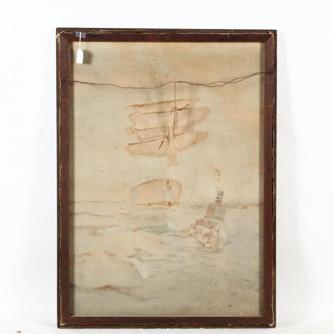 An Antique Maritime Painting with Ship and Tugboat - 2