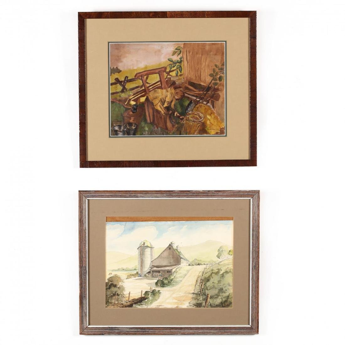 American School (20th Century), Two Watercolors