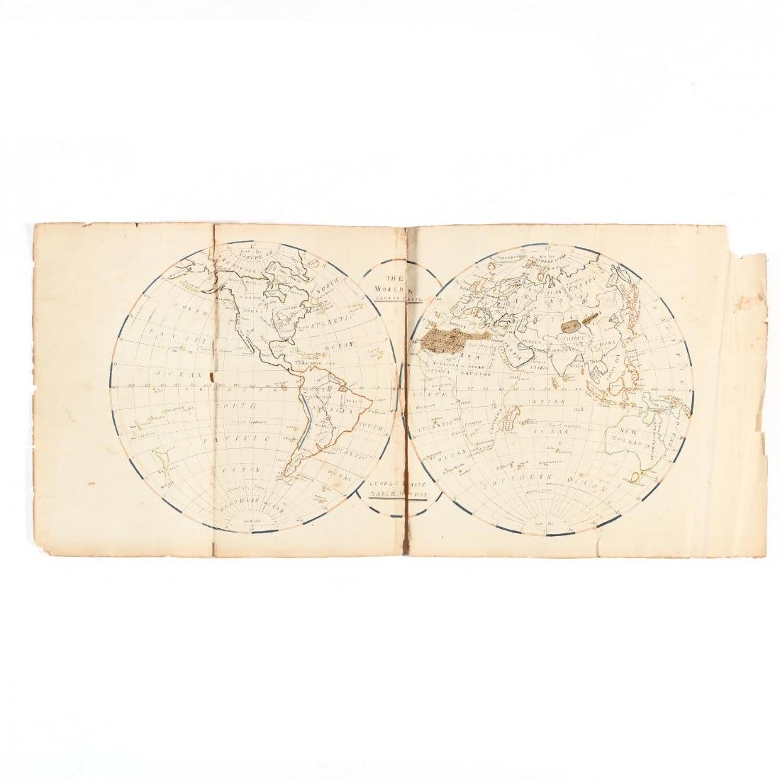 Schoolboy's Calligraphy Double-Hemisphere Map