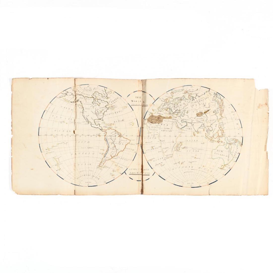 Schoolboy's Calligraphy Double-Hemisphere Map