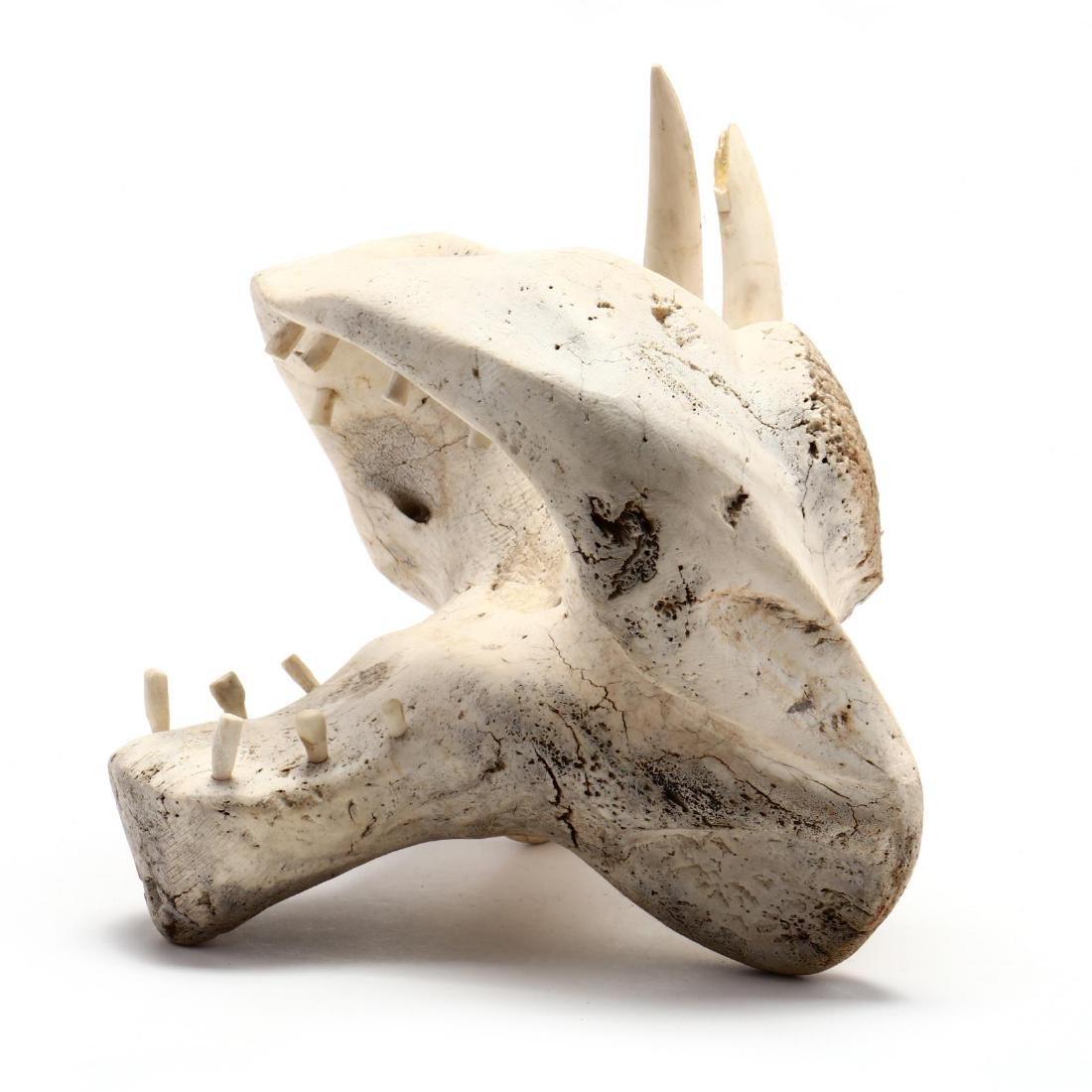 Inuit Sculpture of a Roaring Bear's Head - 4