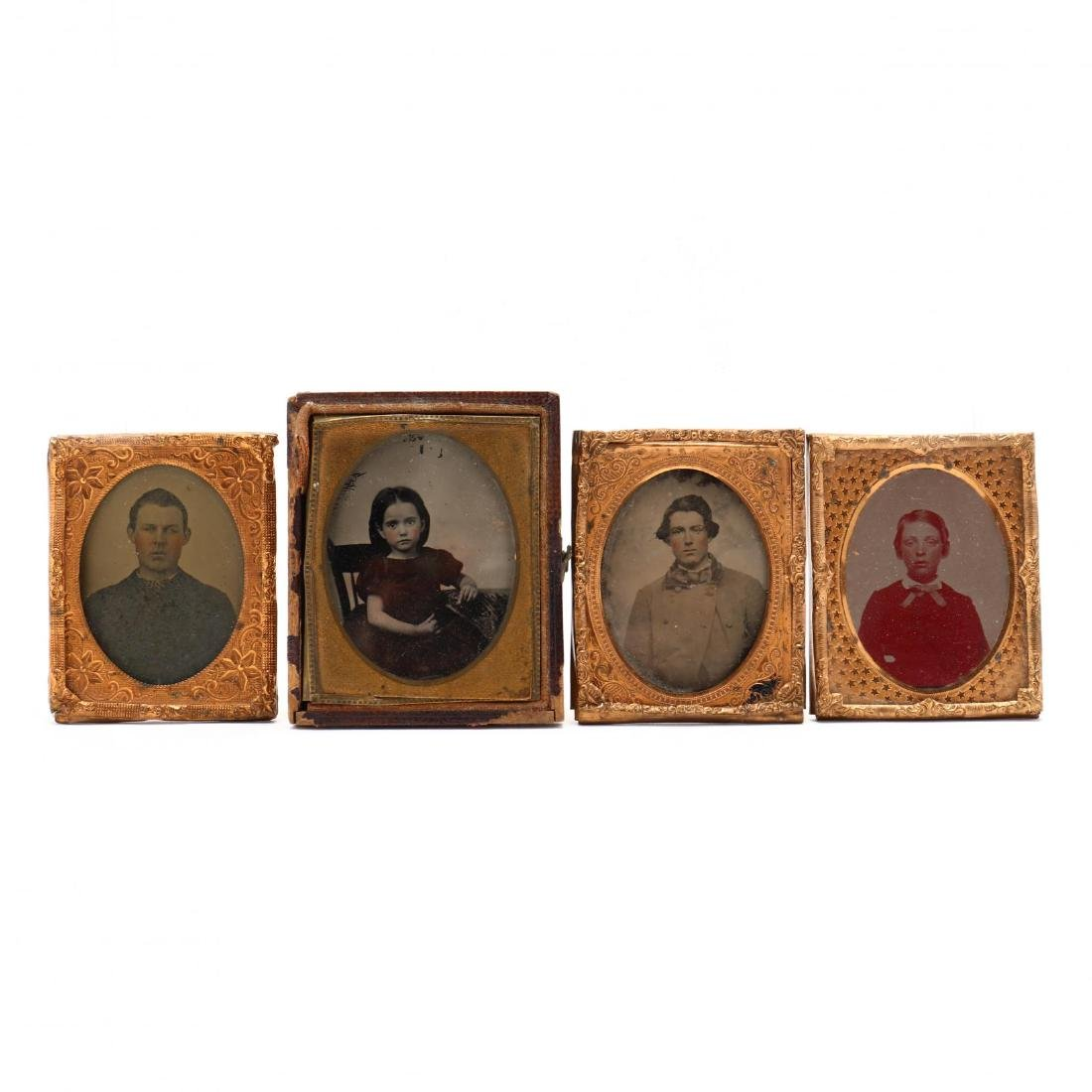 Four Ninth Plate Ambrotypes, One Possibly a Confederate