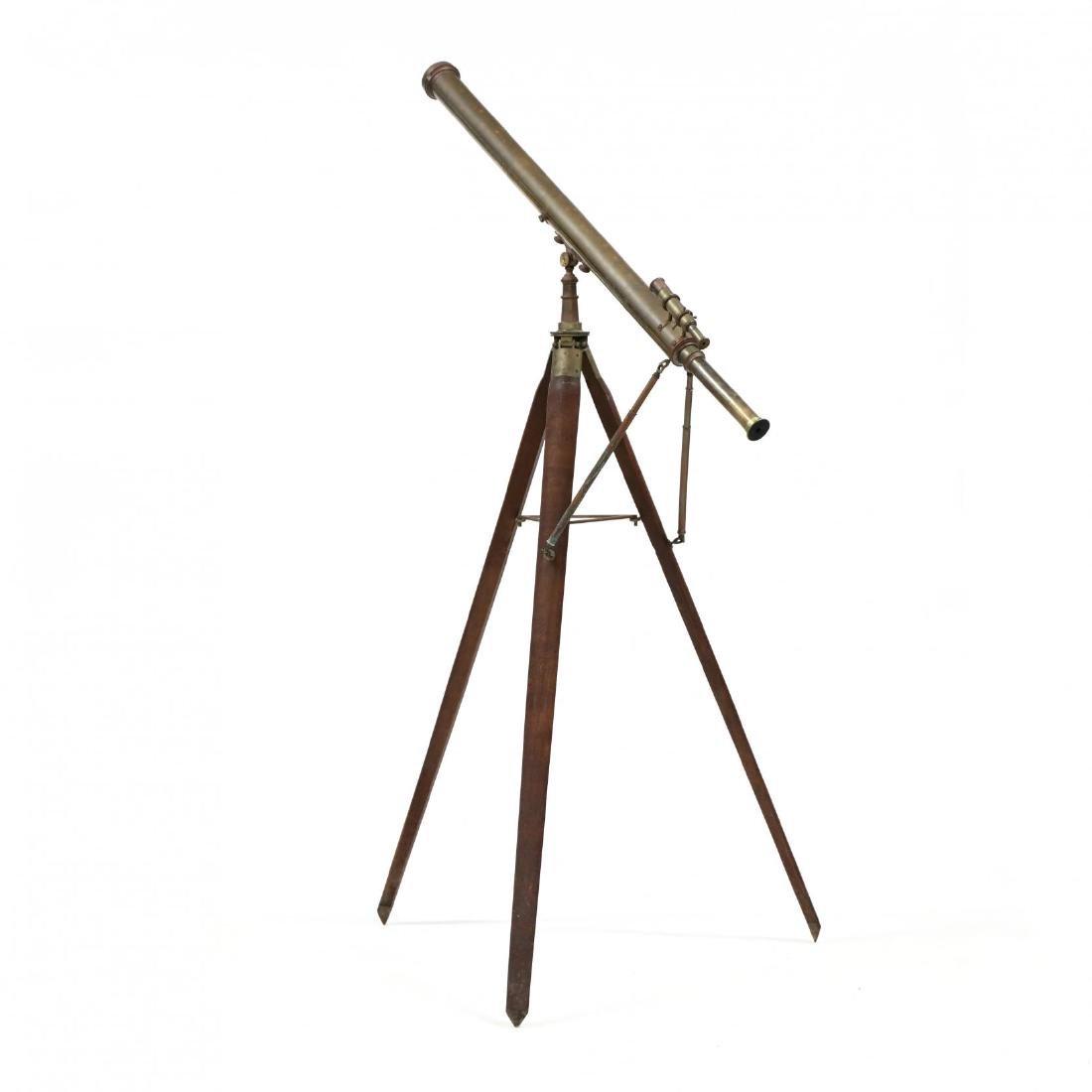 Large Brass Telescope Mounted on Walnut Tripod