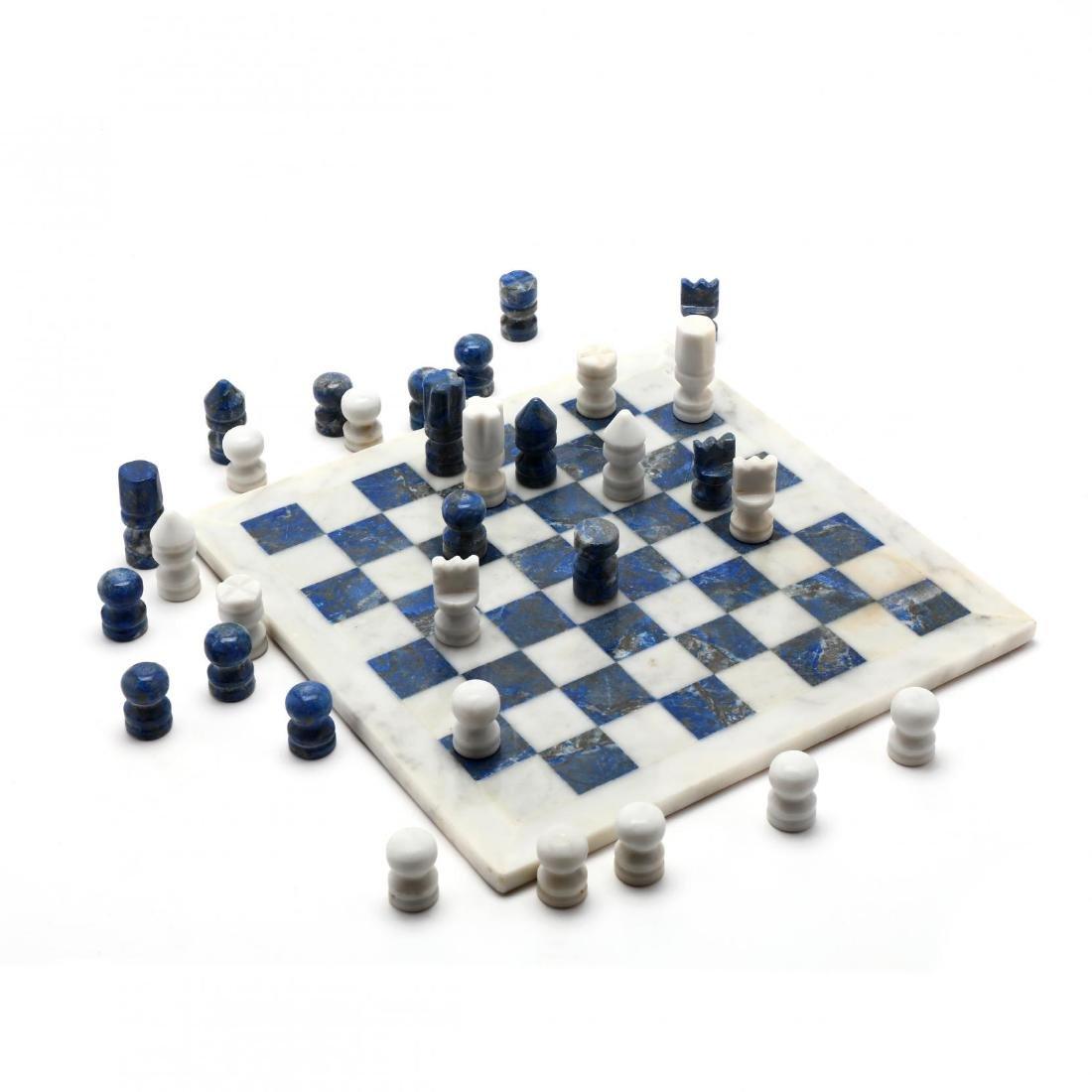 Lapis Lazuli and White Marble Chess Set, Morita Gil
