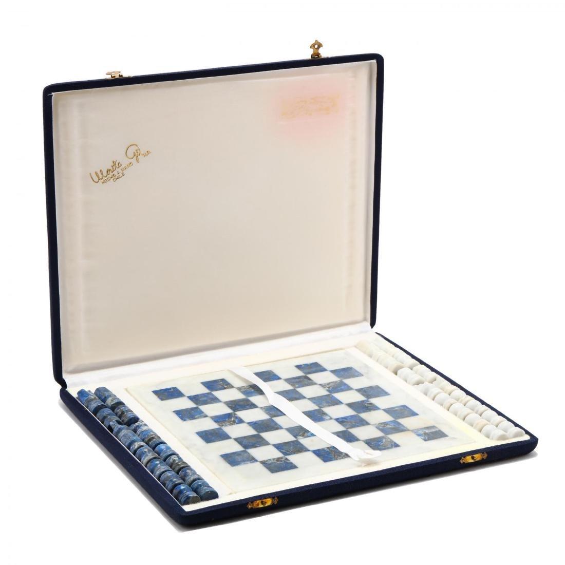 Lapis Lazuli and White Marble Chess Set, Morita Gil - 2