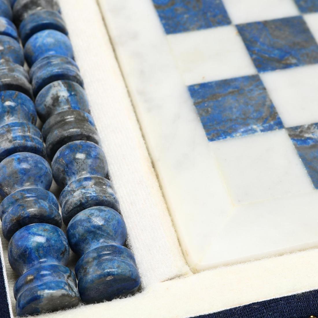 Lapis Lazuli and White Marble Chess Set, Morita Gil - 3