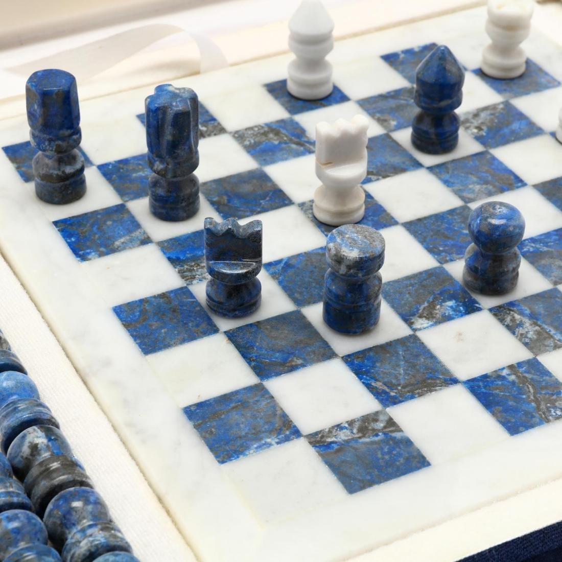Lapis Lazuli and White Marble Chess Set, Morita Gil - 4