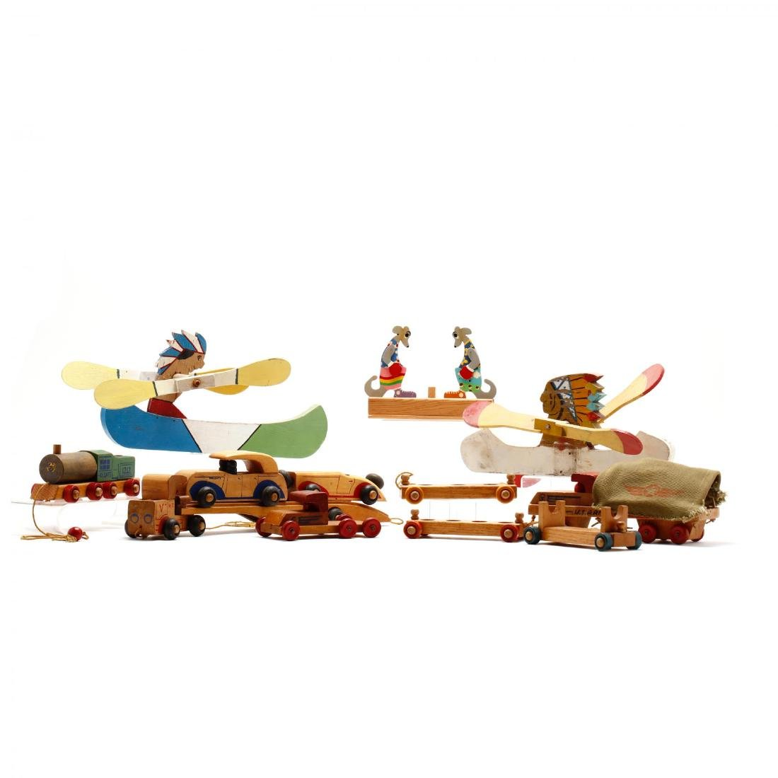 A Group of Vintage Wooden Toys