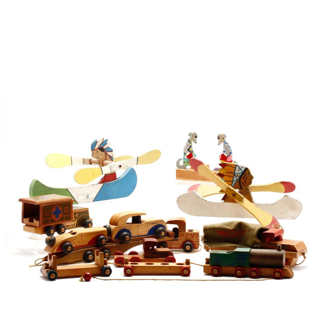 A Group of Vintage Wooden Toys - 8