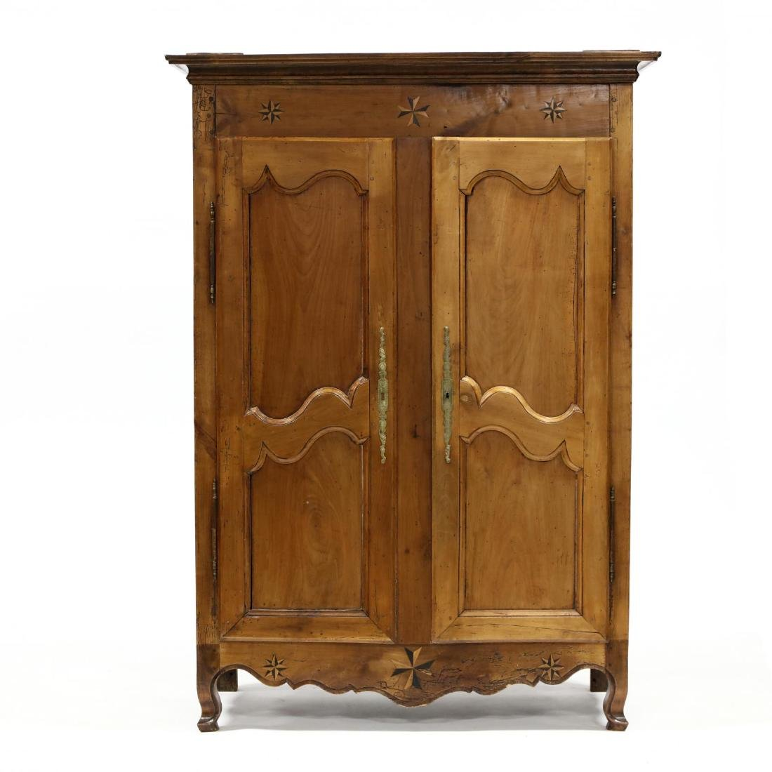 Antique French Provincial Inlaid Cherry Armoire